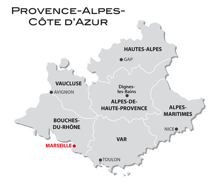 simple administrative map Provence-Alpes-Cote 向量圖像