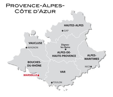 carte administrative simple, Provence-Alpes-Côte-
