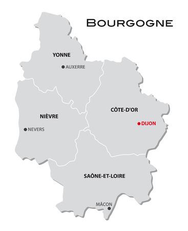eenvoudige administratieve kaart van Bourgondië Stock Illustratie