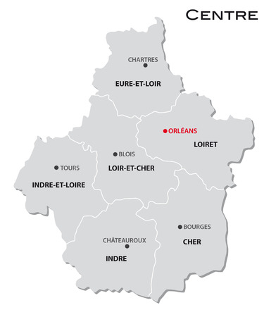 eenvoudige administratieve kaart van het centrum Stock Illustratie