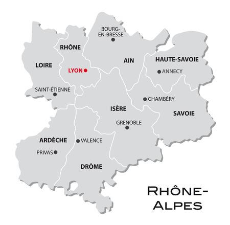 rhone: simple administrative map of Rhone-Alpes Illustration