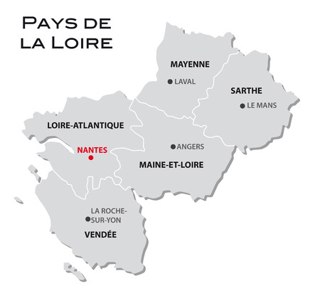 pays: simple administrative map of pays de la loire