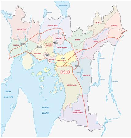 oslo neighborhood map 矢量图像