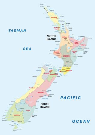 Nieuw-Zeeland administratieve kaart Stock Illustratie