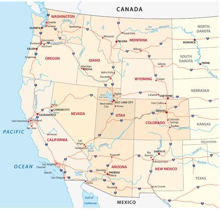 mapa politico: estados unidos occidentales mapa Vectores