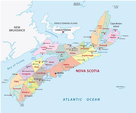 Mapa administrativo de nueva escocia Foto de archivo - 34696391
