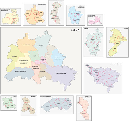 borough: berlin administrative map Illustration