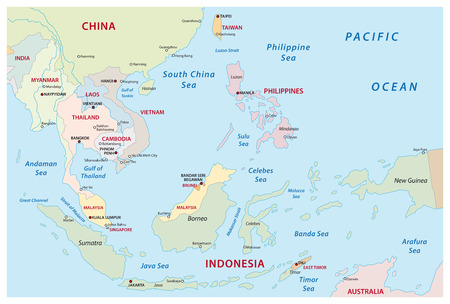 Southeast Asia Map Иллюстрация