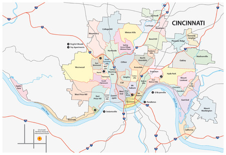 cincinnati road and neighborhood map Фото со стока - 34735957