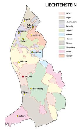 municipalities: liechtenstein administrative map
