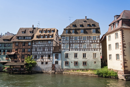 half timbered: strasbourg france, houses on the banks of the River Ill