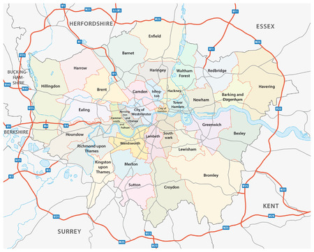 greater london road and administrative map Vectores