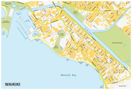 ワイキキの地図  イラスト・ベクター素材