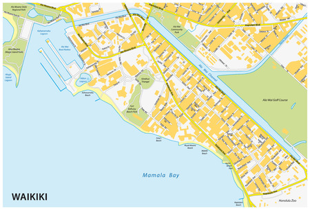 waikiki street map Stock Illustratie