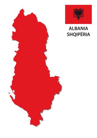 albania: albania map with flag