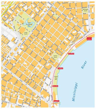 New Orleans carte française Banque d'images - 34908079