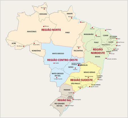 territorial: Brazil, administrative and territorial division map