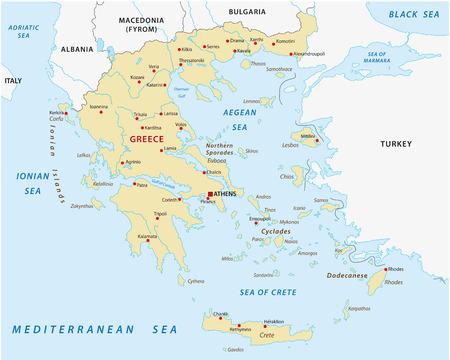 mapa politico: mapa grecia Vectores
