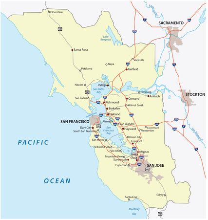 San Francisco Bay Area Map Royalty Free Cliparts Vectors And