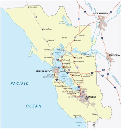 San Francisco Bay Karte Standard-Bild - 34990109