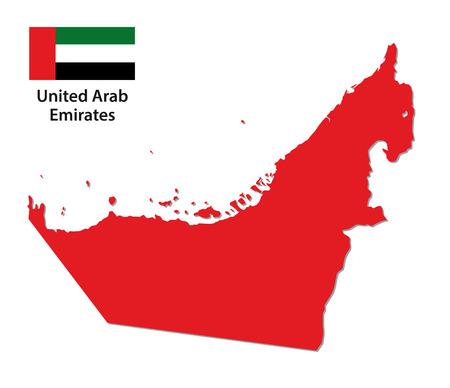emirates: united arab emirates map with flag