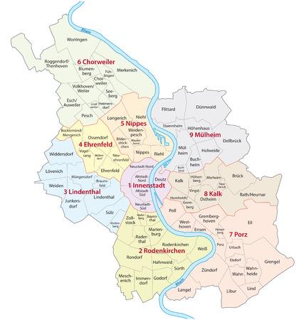 rhine westphalia: cologne administrative map