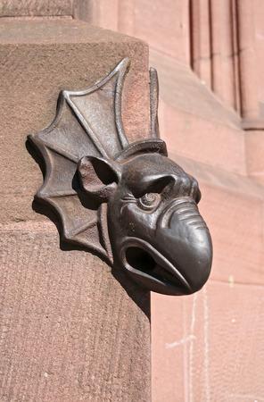 gargoyle: Gargoyles on the main portal of the west facade, Strasbourg Cathedral Stock Photo