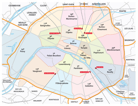 seine: paris road and administrative map