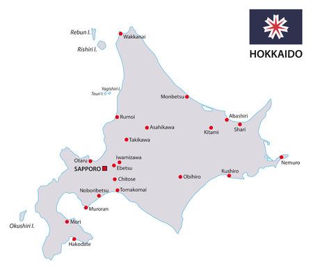 hokkaido: hokkaido map with flag Illustration