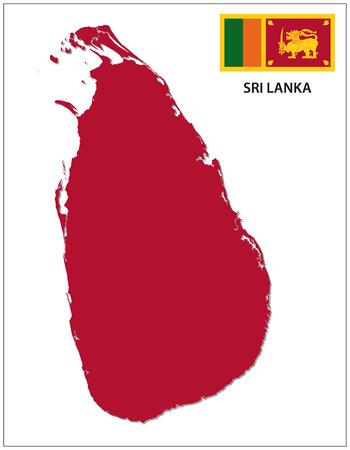lanka: sri lanka map with flag