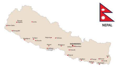 nepal: nepal map with flag Illustration