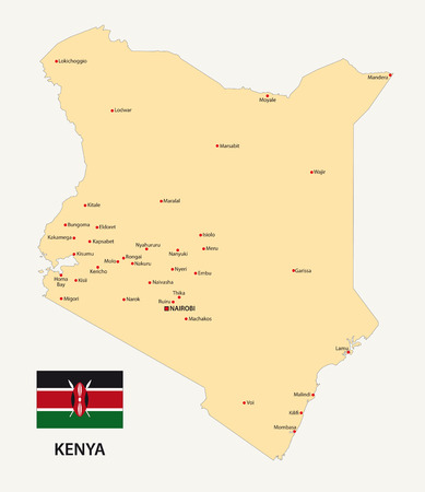 kenya map with flag Vector