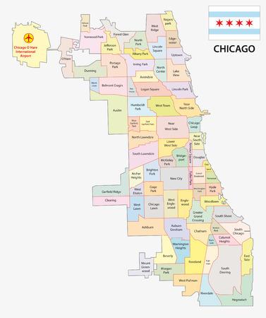 chicago neighborhood map with flag