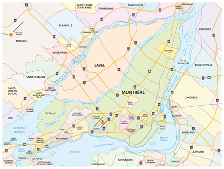 quebec city: greater montreal road and administrative map