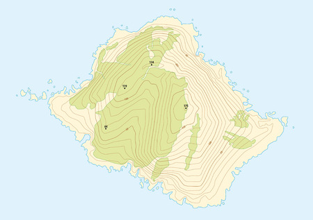 topographic: topographic map of a fictional island Illustration