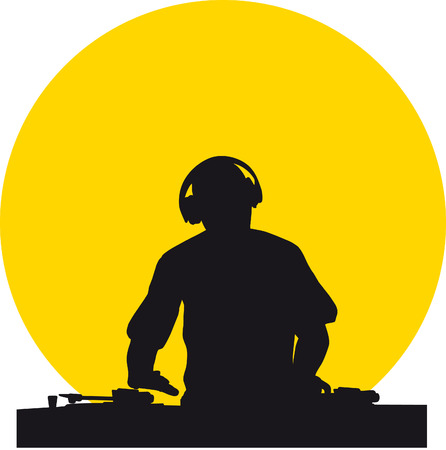 Silhouette of a DJ wearing headphones in front of a yellow sun Illustration