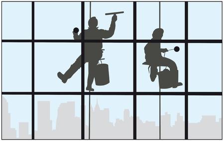 personal de limpieza: Dos limpiadores de ventanas