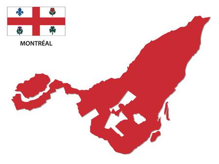 montreal kaart met vlag
