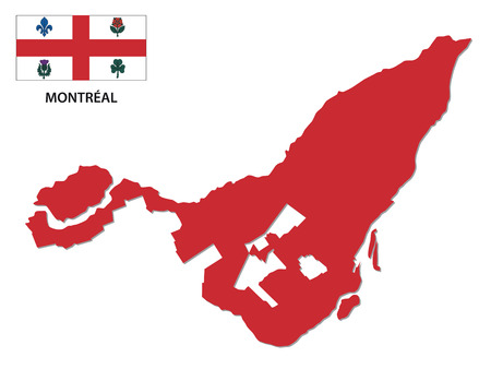 montreal map with flag