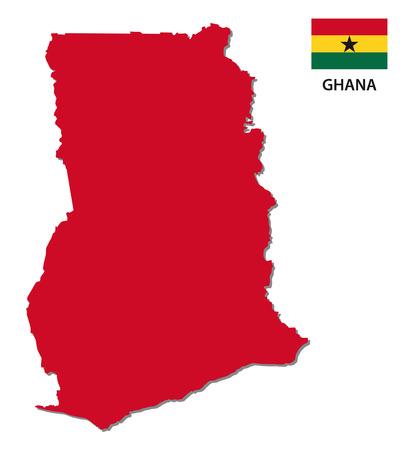 ghana: ghana carte avec le drapeau Illustration