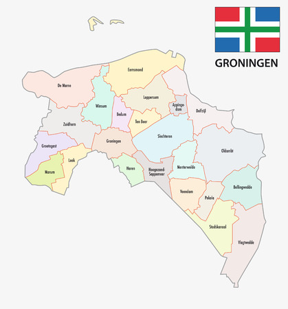 province: province Groningen administrative map with flag Illustration