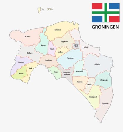 groningen: province Groningen administrative map with flag Illustration