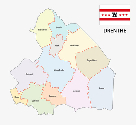 municipality: province drenthe administrative map with flag