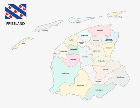 province friesland administrative map with flag Illustration