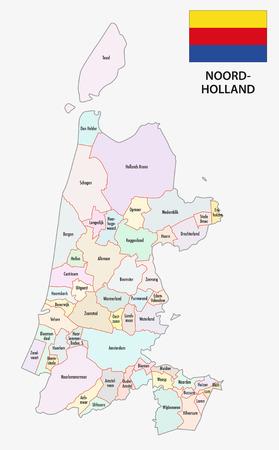 provincie Noord-Holland kaart met vlag Vector Illustratie