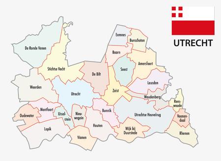 utrecht: province utrecht administrative map with flag Illustration