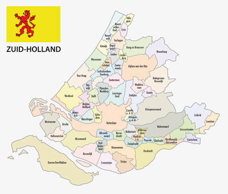 municipality: south holland administrative map with flag