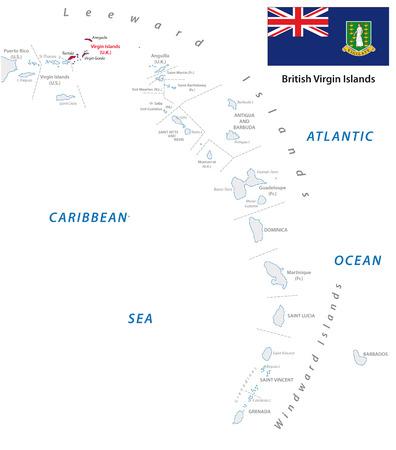 windward: lesser antilles outline map with british virgin islands