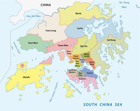 hong: hong kong administrative map