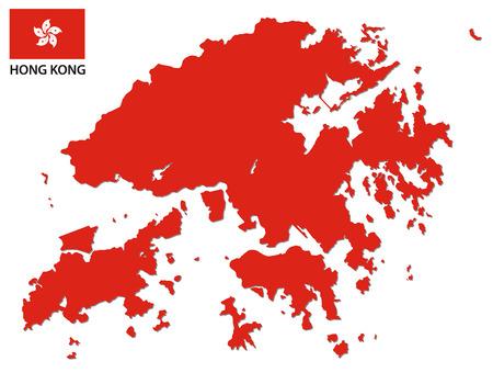 hong kong map with flag